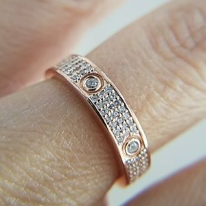 LOVE Ring Rose Gold Plated Eternity Band sz 6